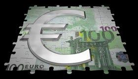 100 euro e simbolo di vetro Fotografia Stock Libera da Diritti