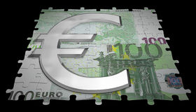 100 euro and glass symbol. Render of 100 euro note like puzzle and glass symbol Royalty Free Stock Photo