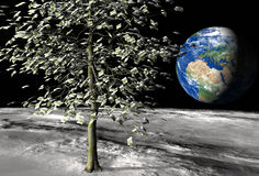 100 euro money tree on the moon. Money tree on the moon surface with € 100 bills instead of leaves and the planet earth on the background vector illustration