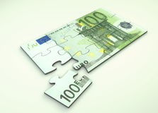 100 Euro Note Puzzle. 100 Euro note as puzzle - one piece seperately Royalty Free Stock Image
