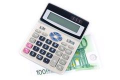 100 euro y calculadora Fotografía de archivo libre de regalías