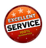 100% Excellent Service. Button on white background Stock Photography