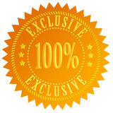 100 exclusive icon. Isolated on white Royalty Free Stock Image