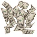 100 fallande pengar för bills Arkivbilder