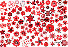100 flowers. Red-and-black design elements stock illustration