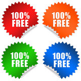 100 free. Stickers set isolated over white vector illustration