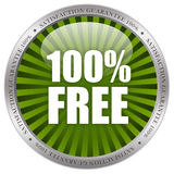 100 free. Icon isolated over white background Royalty Free Stock Image