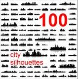 100 gedetailleerde silhouetten van wereldsteden Royalty-vrije Stock Afbeeldingen