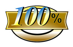 100% gold belt. Vector art of a seal showing the number 100 stock illustration