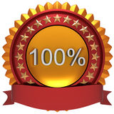 100% golden label. 100% golden label with red ribbon Royalty Free Illustration