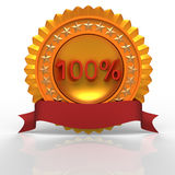 100% golden label. 3d illustration Royalty Free Stock Image