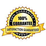 100% guarantee. Golden satisfaction medal Stock Photo