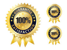 100 guarantee. Seal of 100 guarantee with gold colour Royalty Free Stock Photo