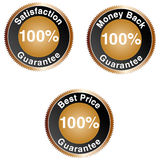 100% Guarantee Icons. Set of 100% Guarantee Icons Stock Photo