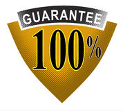 100% guarantee shield. Vector art of a 100% guarantee shield Royalty Free Stock Photo