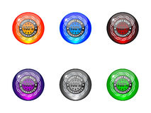 100 % GUARANTEE shiny labels Stock Photo
