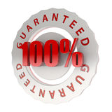 100% guaranteed. 100% symbol for totally guaranteed product Royalty Free Stock Images