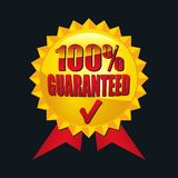 100% Guaranteed. Illustrated guaranteed quality icon on black Stock Photography