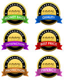 100% guaranteed labels. Set isolated on white Royalty Free Stock Photo