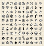 100 hand draw web icon Royalty Free Stock Photo