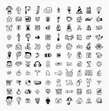 100 hand draw web icon. Drawing royalty free illustration