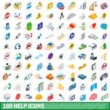 100 Help Icons Set, Isometric 3d Style Stock Image