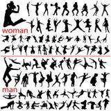 100 hoppa folk vektor illustrationer