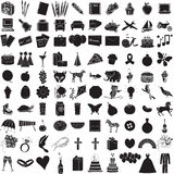 100 Icon Set 1. Vector Illustration of 100 Icon Objects with outlines. Everything from holiday to supplies Royalty Free Stock Image