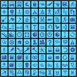 100 icone blu Fotografia Stock Libera da Diritti