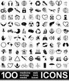 100 icone di vettore Fotografie Stock Libere da Diritti