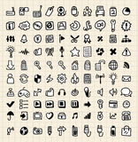 100 iconos del Web del drenaje de la mano Imágenes de archivo libres de regalías