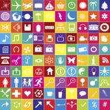 100 iconos del Web en colores brillantes Fotos de archivo