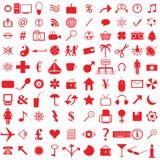 100 iconos rojos Foto de archivo libre de regalías