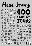 100 icons. 100 hand drawing creative icons stock illustration