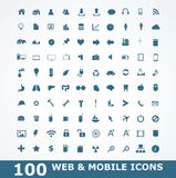 100 Icons For Web and Mobile Stock Photo