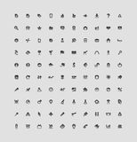100 interface buttons. Set of 100 interface icons for business, entertainment and science. Vector illustration Royalty Free Stock Photo