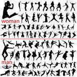 100 jumping people. Woman and man Vector Illustration