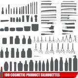 100 kosmetiska silhouettes för produktset Royaltyfria Bilder