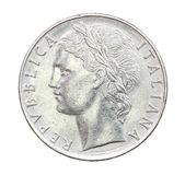 100 liras de moneda de Italia de 1975 Imagenes de archivo