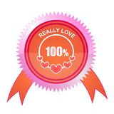 100% Love Stamp. One hundred percent love  grunge stamp Stock Photos