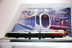 100% low-floor LRV tram model Royalty Free Stock Photo