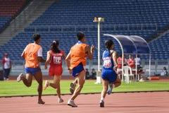 100 mètres des femmes pour les personnes borgnes Photographie stock libre de droits