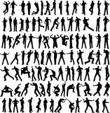 100 man vector different pose. Isolated on white vector illustration