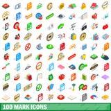 100 Mark Icons Set, Isometric 3d Style Stock Image