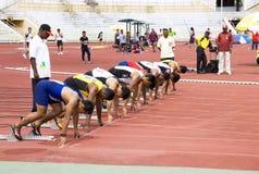 100 Meter der Männer sprinten Stockfotos
