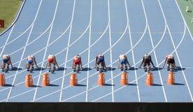 100 Meterfrauen Stockfotografie