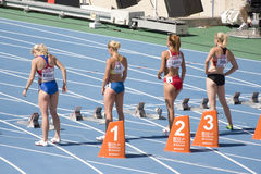 100 Meterfrauen Lizenzfreies Stockfoto