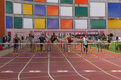 100 meters hurdles men Stock Images