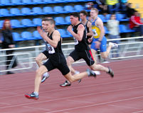On the 100 meters race Royalty Free Stock Photos