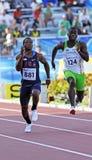 100 metres men usa australia. MONCTON, CANADA - JULY 21: Michael Granger (881) of USA and Patrick Fakiye of Australia run the men's 100 metres at the 2010 IAAF Royalty Free Stock Image